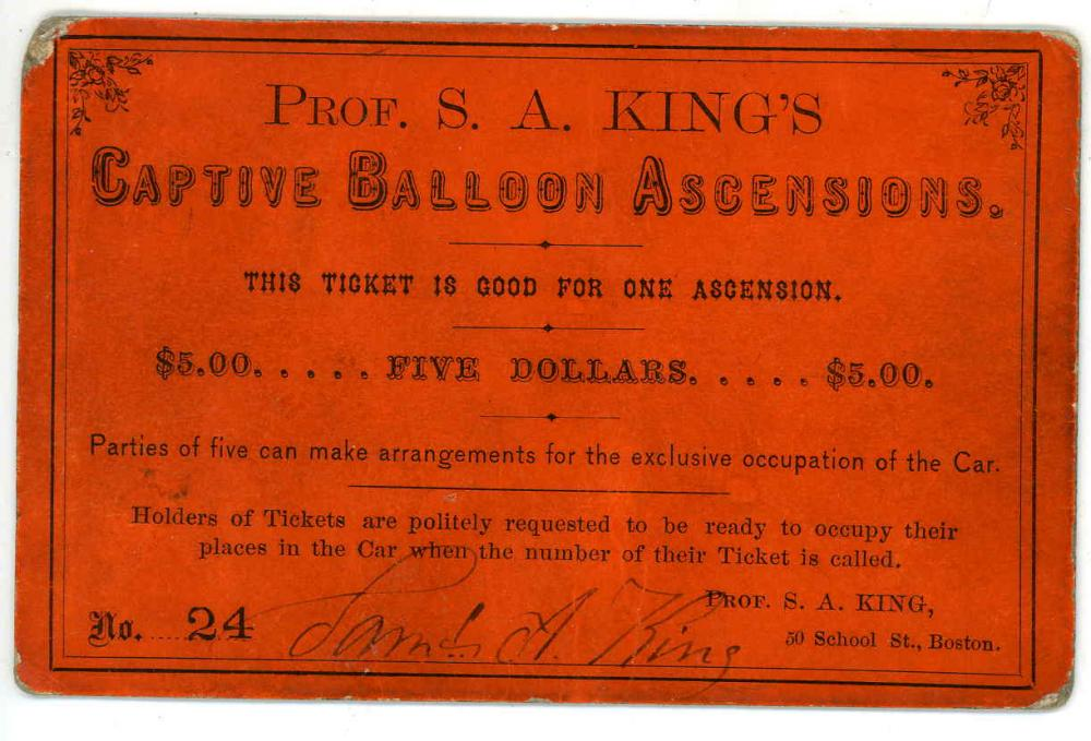 Extremely Rare Carte De Visite In The Form Of A Ticket For Balloon Ride